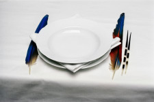 Obra en Espai Visor. Lothar Baumgarten. The origin of table manners, 1971.