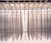 Richard Ross. Basement storage racks, Paul Getty Museum, 2000.