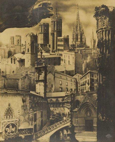 Pere Català Pic. Fotomontaje sobre el Barrio Gótico para la Sociedad de Atracción de Forasteros de Barcelona, 1935. Cortesía del Arxiu Fotogràfic de Barcelona.