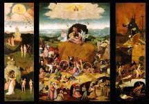 El Bosco. El carro de heno, hacia 1512-15. Tríptico abierto.  Tabla central: La humanidad arrastrada por el pecado. Izquierda: La expulsión del Paraíso, origen del pecado. Derecha: El infierno, todavía en construcción.