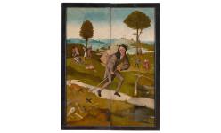 El Bosco, El carro de heno, hacia 1512-1515. Museo del Prado.  Tríptico cerrado. El camino de la vida.