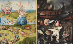 El Bosco, El Jardín de las delicias, hacia 1490-1500. Fragmento del tríptico abierto. Cortesía del Museo del Prado.