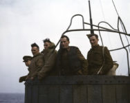 Robert Capa, Five British soldiers on a troop ship from England to North Africa, 1943.