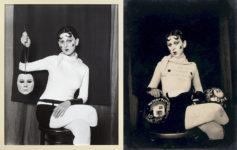 Izquierda, Gillian Wearing, Me as Cahun holding a mask of my face, 2012; derecha, Claude Cahun, I am in training don't kiss me, 1927